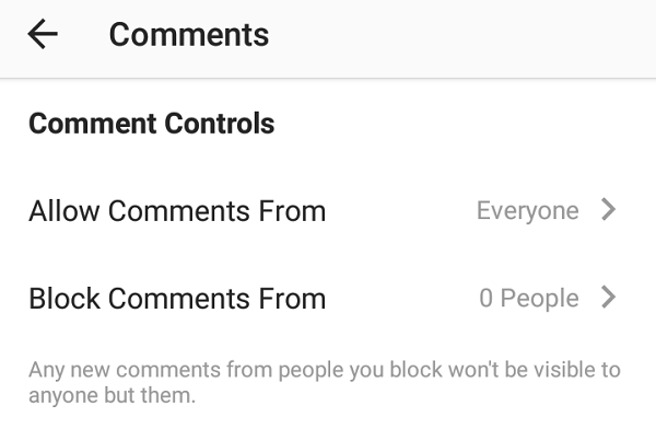 Control who can comment on your Instagram's posts