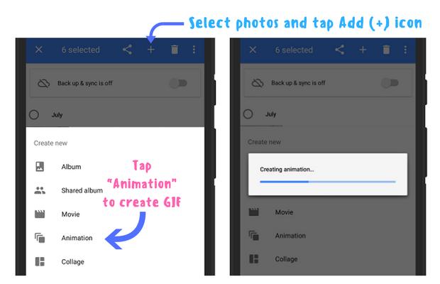 Create animated GIFs using Google Photos