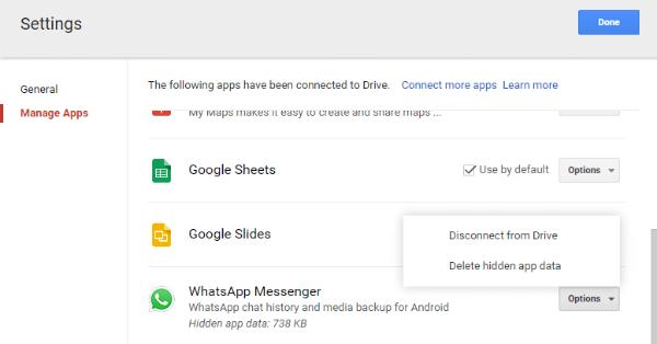 Delete WhatsApp Google Drive Backup