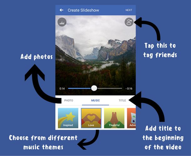 How to make a slideshow of pictures with music for facebook