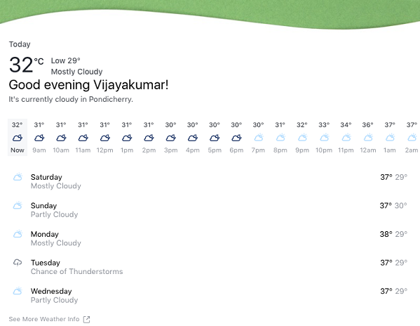 Check weather using Facebook