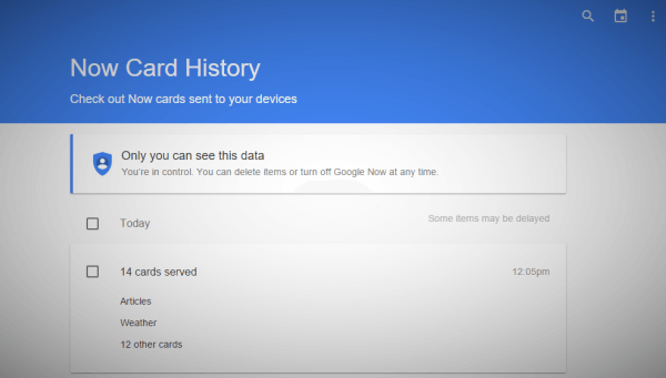 Google Now cards history