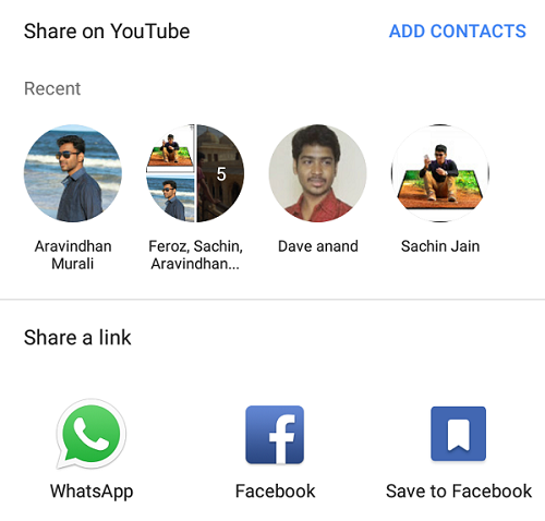 Share to YouTube contacts