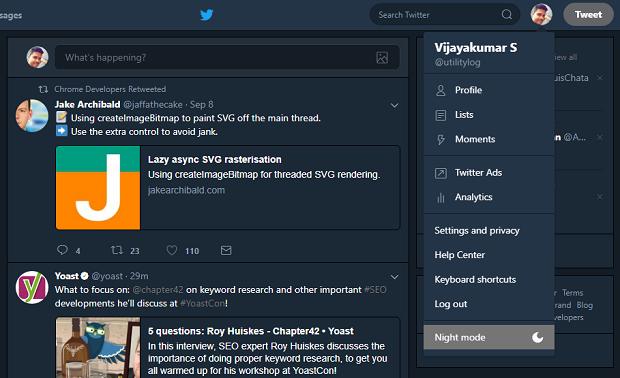 Night mode on Twitter (web version)