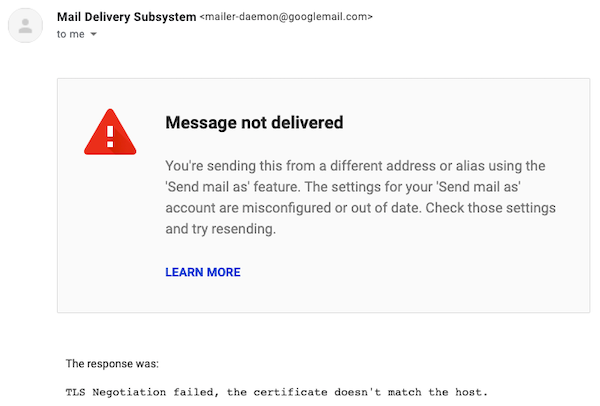 TLS Negotiation failed error in Gmail