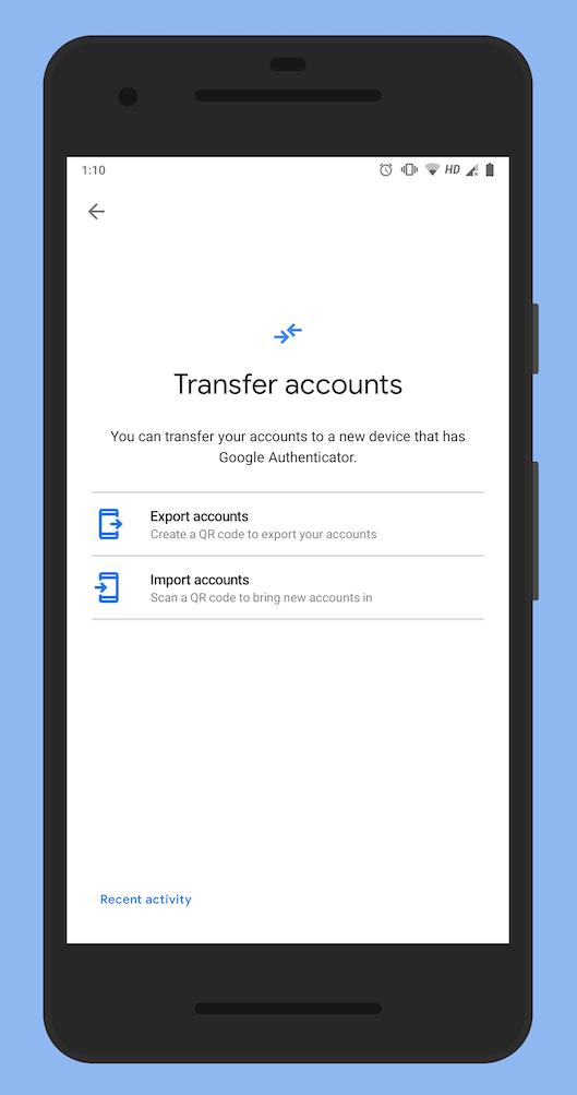 Transfer Google Authenticator codes to a new Android phone