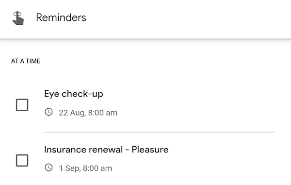 View all reminders created on Google account using Google app