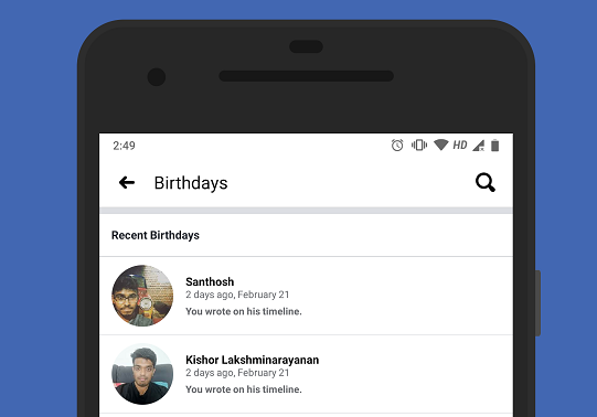 View your friends' birthdays in the Facebook app