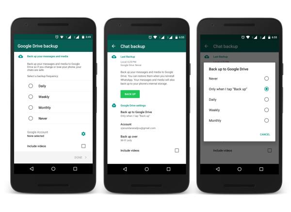 WhatsApp Google Drive configuration
